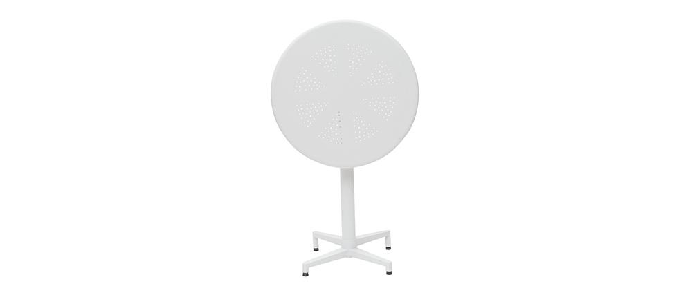 Mesa plegable redonda en metal blanco D60 DOTS