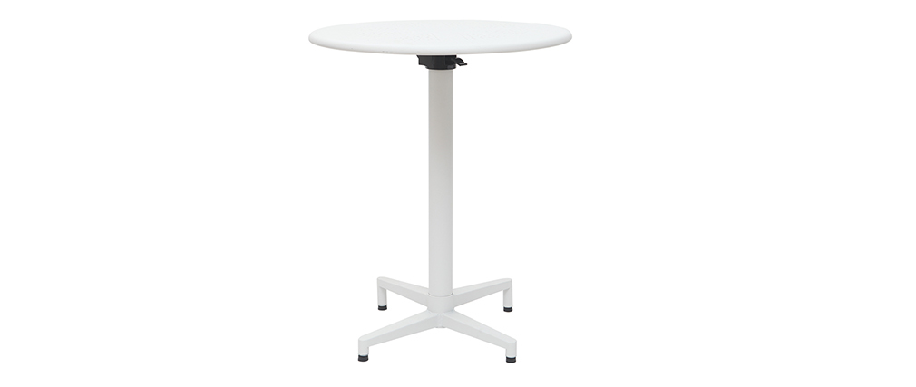 Mesa plegable redonda en metal blanco DOTS