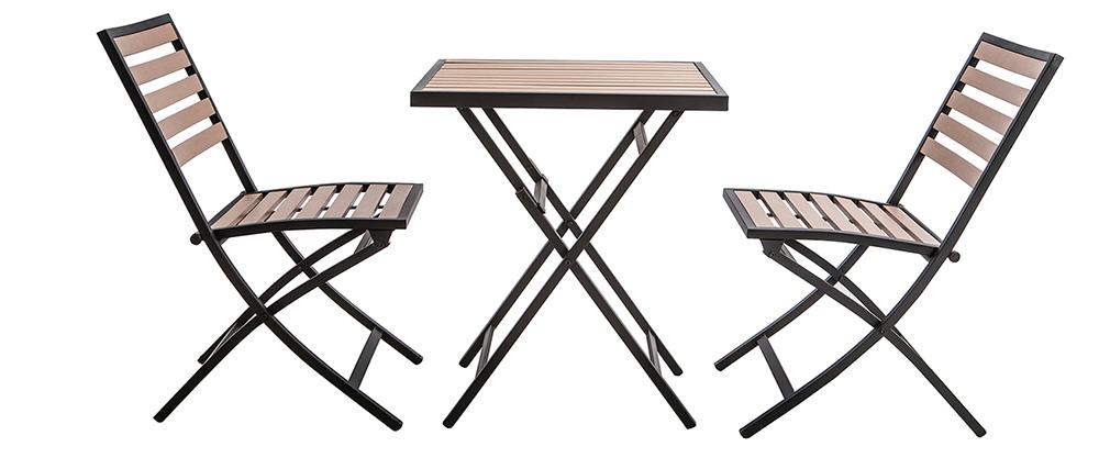 Mesa y 2 sillas plegables negro y madera MOJITO