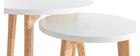 Mesas auxiliares redondas lote de 2 roble y blanco GILDA