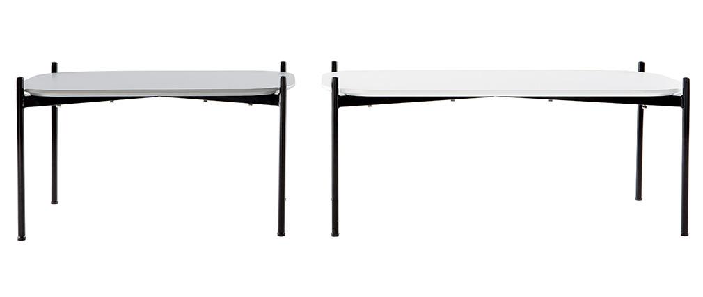 Mesas de centro 100 y 75 cm blanco/gris patas metal - lote de 2 SEGA