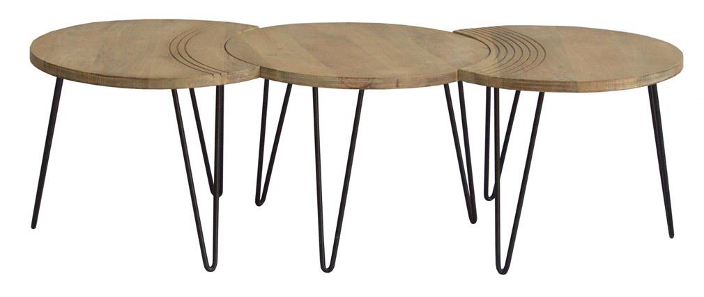 Mesas de centro grabadas mango y metal negro (lote de 3) VIBES
