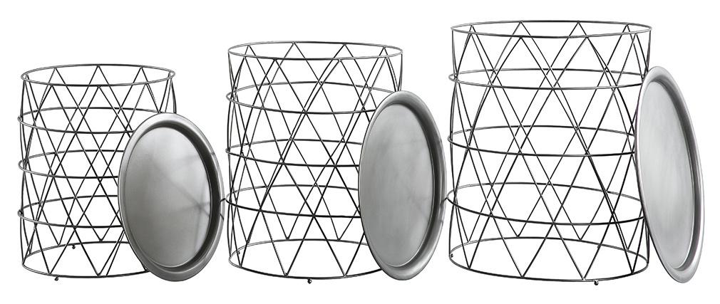 Mesas de centro nido con tablero amovible en acero negro (lote de 3) TREKEN