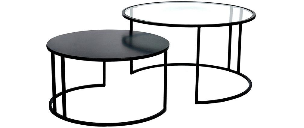 Mesas de centro nido modernas cristal y metal TAHL