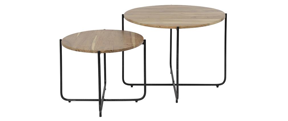 Mesas de centro nido redondas en madera y metal negro (lote de 2) CROSS