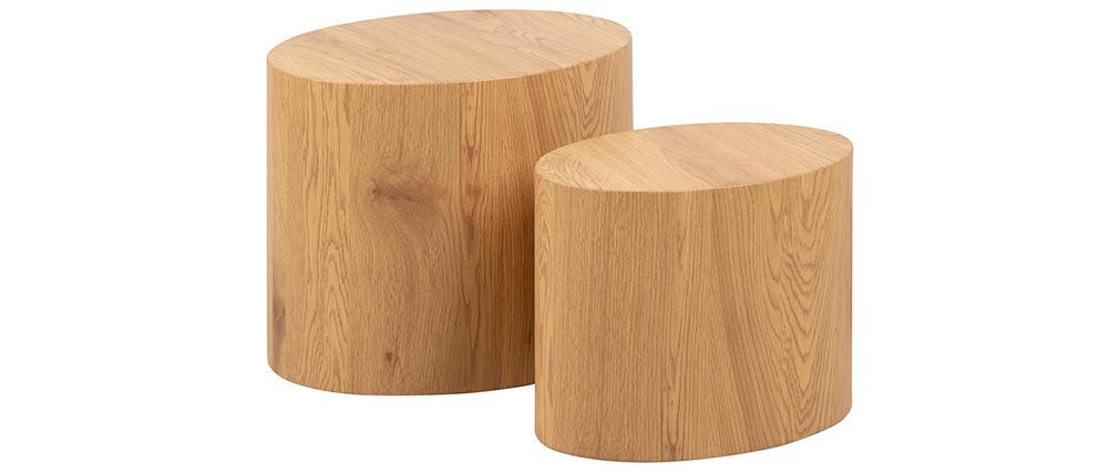 Mesas de centro ovales madera clara (lote de 2) WOODY