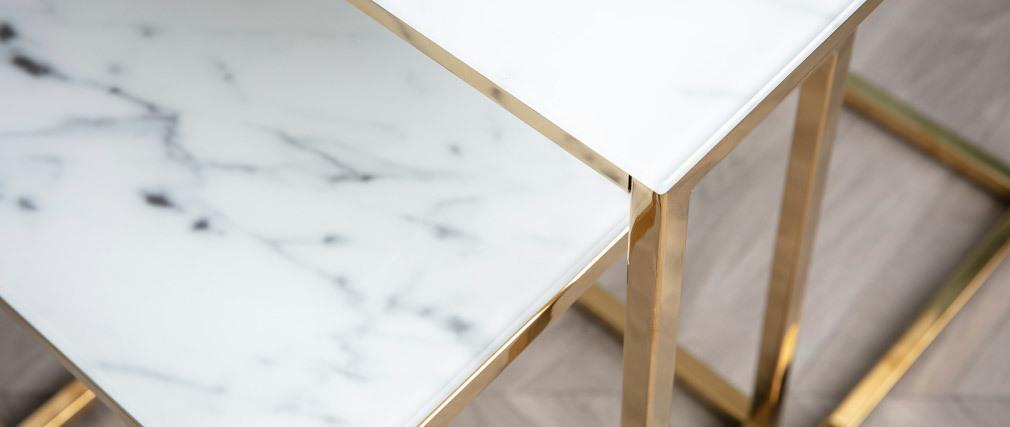 Mesas de nido cuadradas efecto mármol y patas metal SILAS