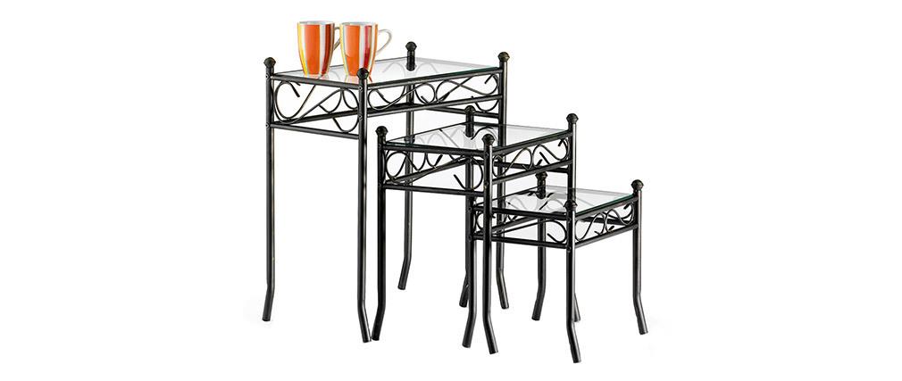 Mesas encajables FLORENCE de acero y cristal templado