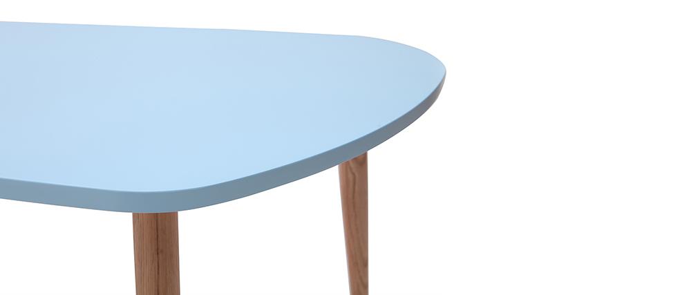 Mesas nido nórdicas azul claro y madera clara (lote de 2) ARTIK