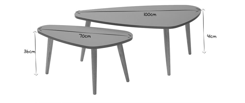 Mesas nido nórdicas gris claro y madera clara (lote de 2) ARTIK