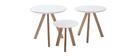 Mesas nido nórdicas redondas blanco y madera (lote de 3) TENO