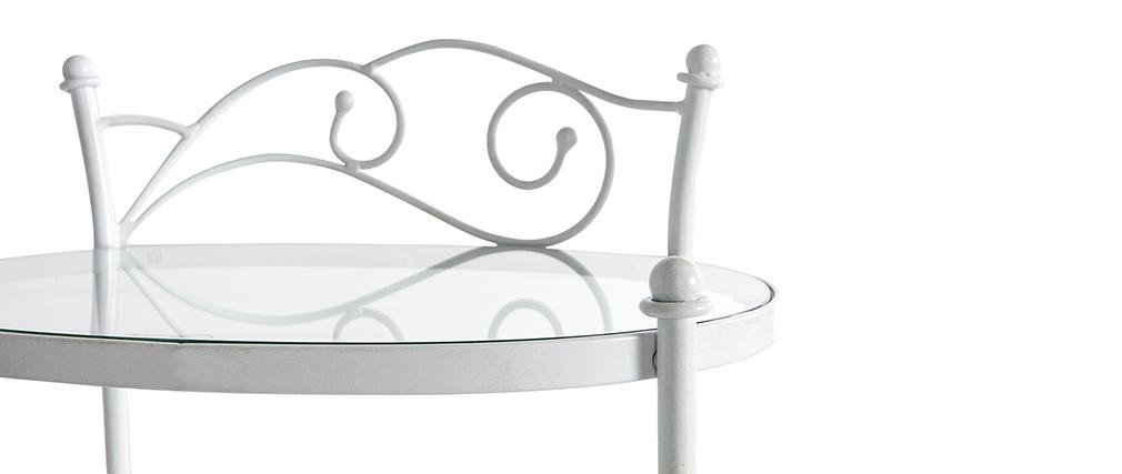 Mesilla de noche barroca de metal blanca VENEZIA