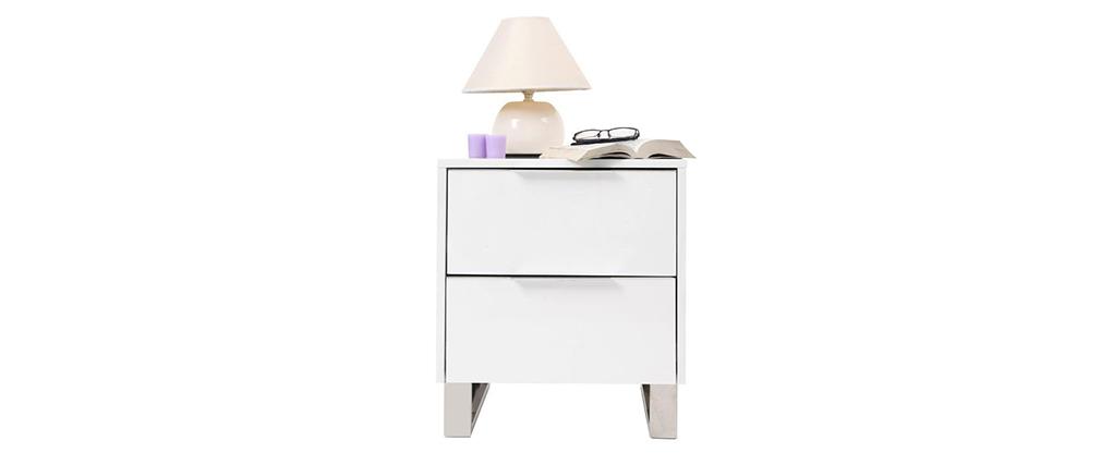 Mesilla de noche de diseño, blanca y lacada HALIFAX