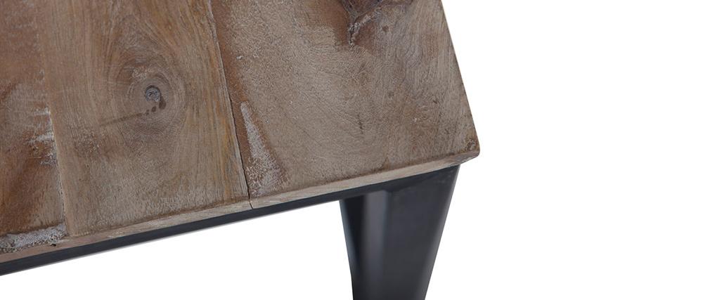 Mesita cuadrata de madera y metal FACTORY