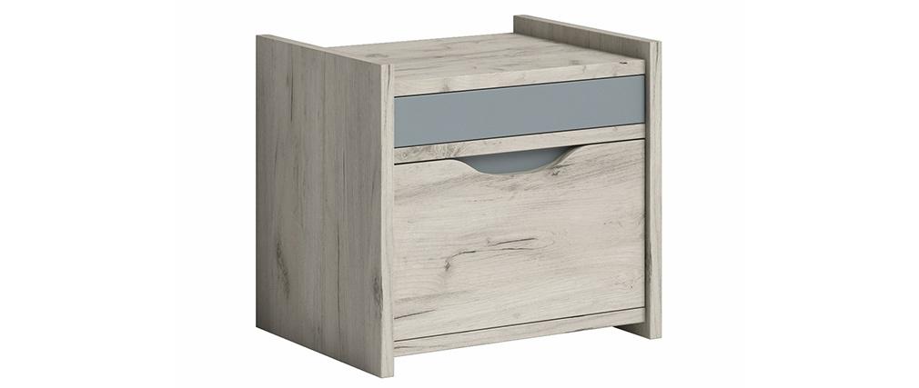 Mesita de noche con cajón fresno blanco y gris TOM