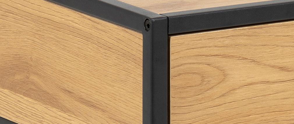 Mesita de noche industrial madera y metal negro TRESCA