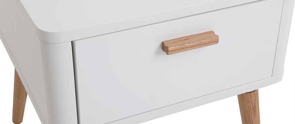 Mesita de noche nórdica blanca y madera TOTEM