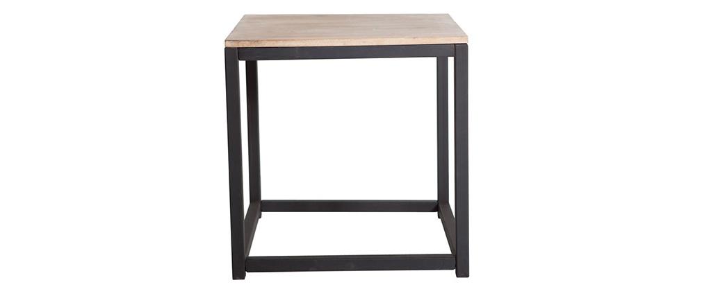 Mesita industrial de madera y metal FACTORY