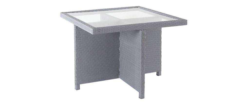 Mobiliario de jardín resina trenzada mesa y sillas gris GRECQUES