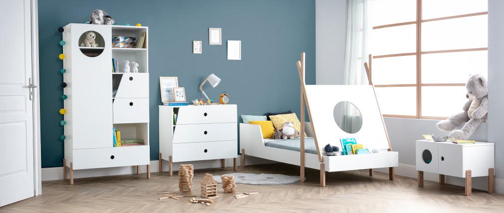 Mueble de almacenaje madera y blanco TIMEHLO