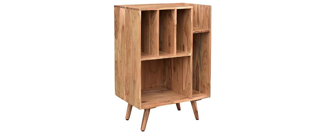 Mueble de almacenaje vinilos en acacia maciza VIRGILE