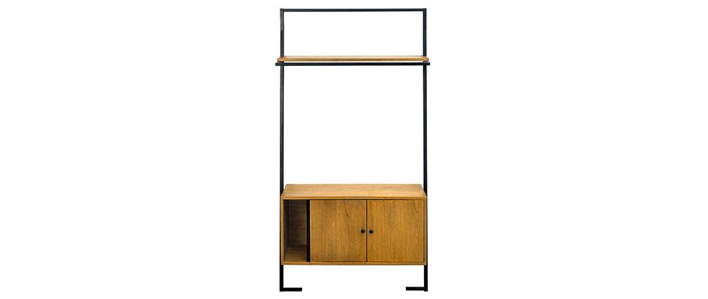 Mueble de almacenaje vintage madera y metal negro SERAH