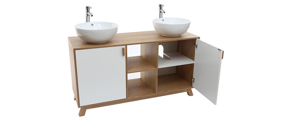 Mueble de baño: 2 lavabos y 2 puertas roble claro y blanco TOTEM