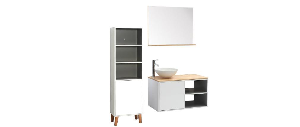 Mueble de baño con columna, lavabo y espejo blanco y madera LAÏTA