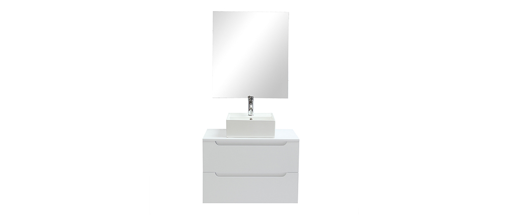 Mueble de baño con espejo y almacenaje blanco (lavabo no inlcuido) LOTA