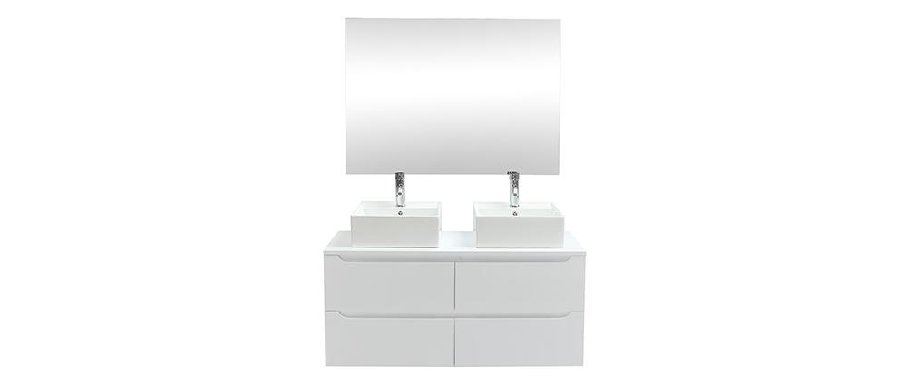 Mueble de baño con espejo y almacenaje blanco (lavabos no incluidos) LOTA