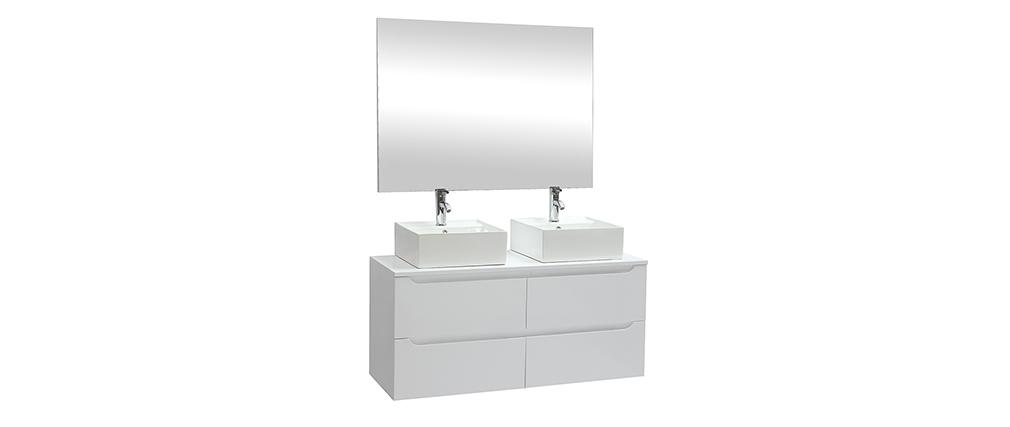 Mueble de baño con espejo y almacenaje blanco (sin lavabos) LOTA