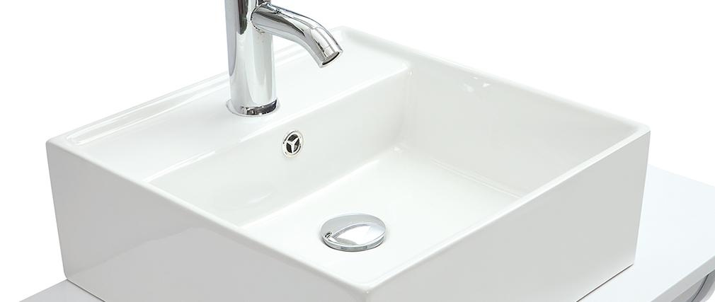 Mueble de baño con espejo y almacenaje blanco LOTA