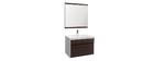 Mueble de baño con lavabo, espejo y almacenaje blanco y madera oscura GANFO