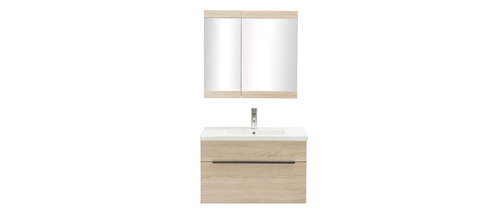 Mueble de baño con lavabo, espejo y almacenaje madera clara SEASON