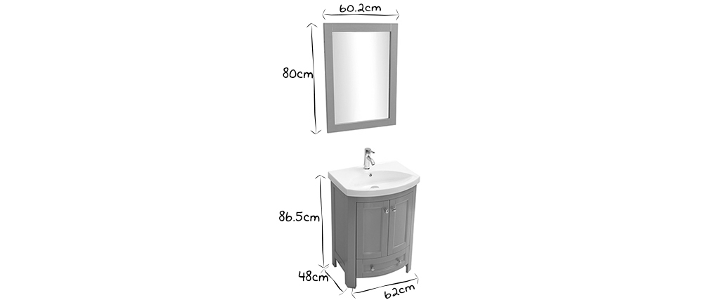 Mueble de baño con lavabo y almacenaje gris KLASI