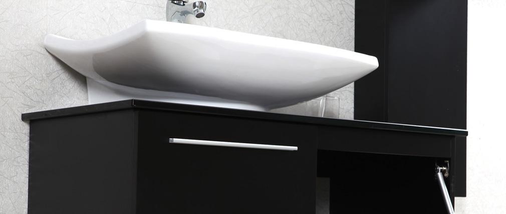 mueble de bao diseo lacado negro mate lavabo mueble columna y espejo horizon