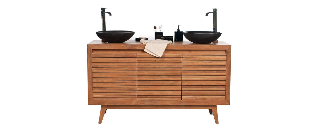 Muebles De Baño Doble Lavabo:Mueble de baño doble lavabo negro y teca ANIO – Miliboo