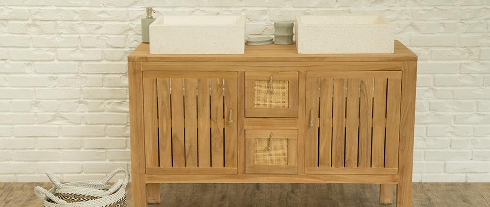 Mueble de baño en teca para doble lavabo (lavabos no incluidos) ARECA