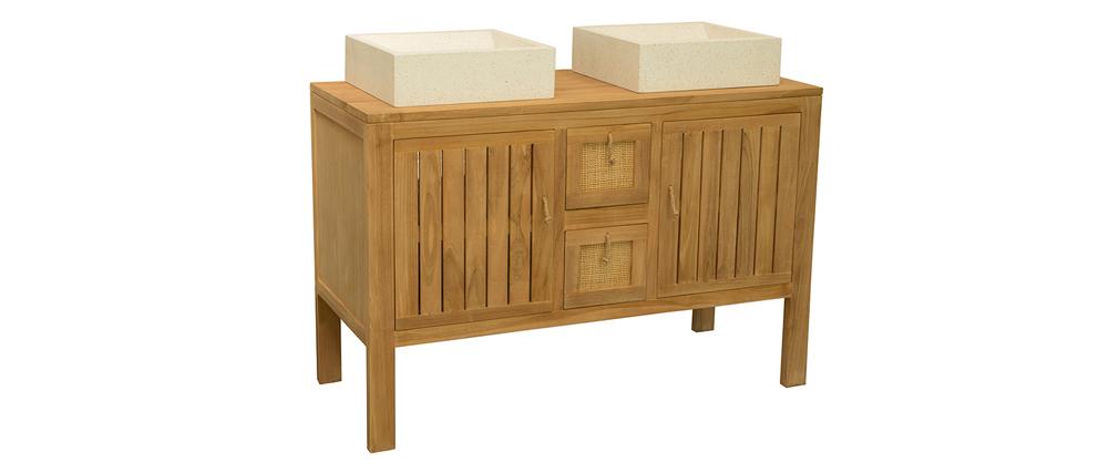 Mueble de baño en teca para doble lavabo ARECA