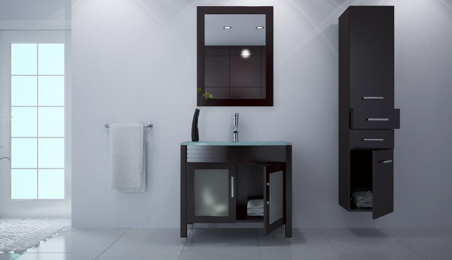 Armarios De Baño Wengue:Mueble de baño: lavabo, armario, espejo y columna MILLO ( Este