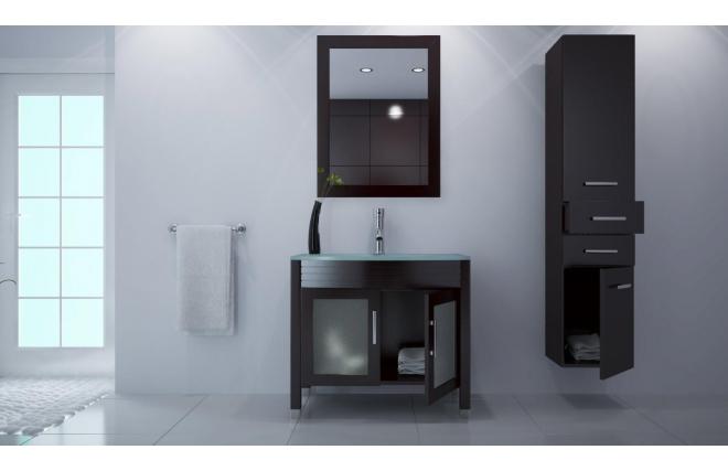 Mueble de ba o lavabo armario espejo y columna millo - Armario columna bano ...