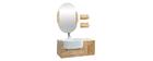 Mueble de baño: lavabo, mueble, estantería y espejo NIVAN