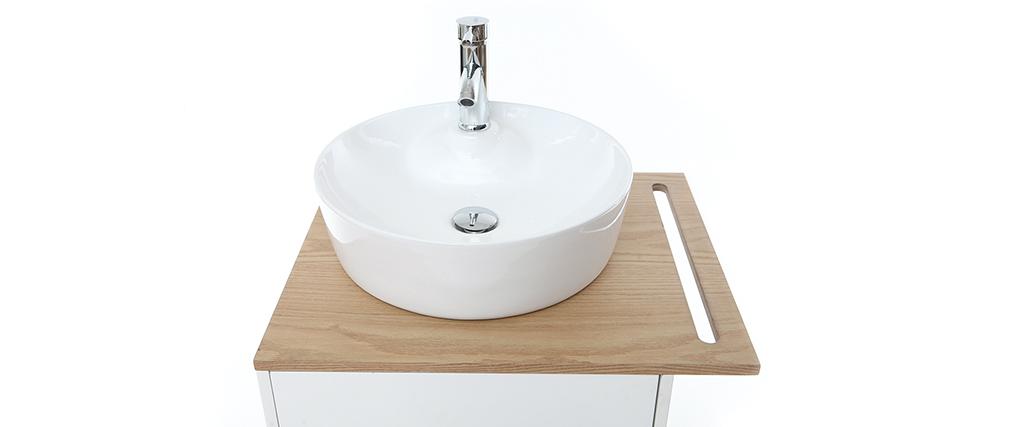 Mueble de baño: lavabo, mueble y una puerta roble y blanco TOTEM