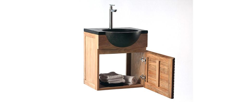 Mueble de baño: mueble en teca y lavabo en terrazo ISAK