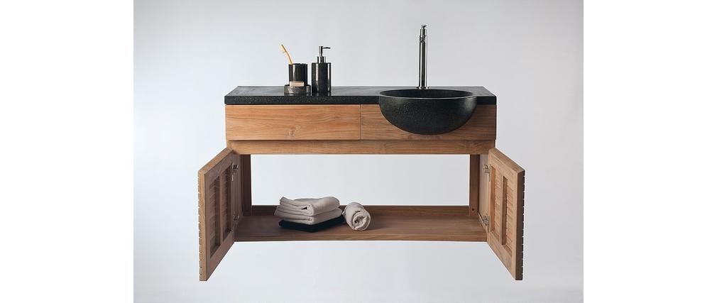 Mueble de baño: mueble en teca y lavabo en terrazo ISAK BIG
