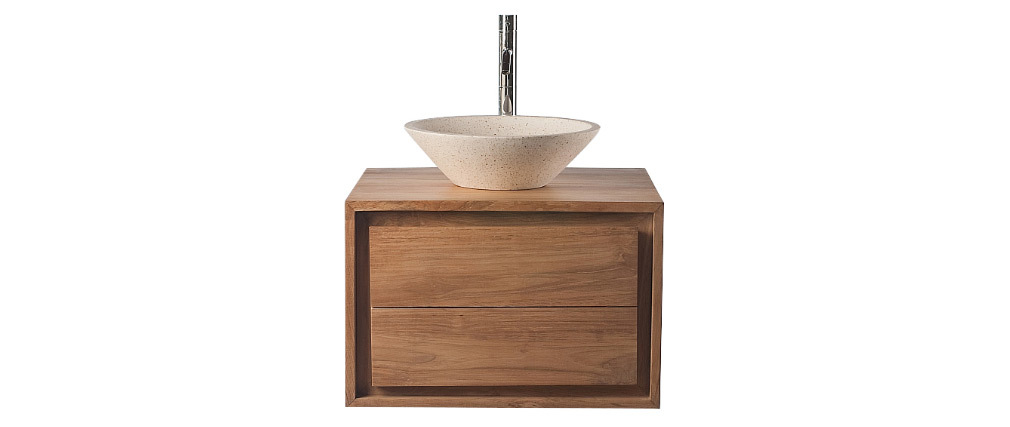 Mueble de baño: mueble en teca y lavabo terrazo PEKKA