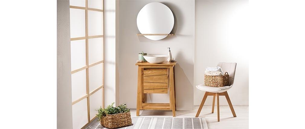 Mueble de baño: mueble teck y lavabo terrazo ALIOH