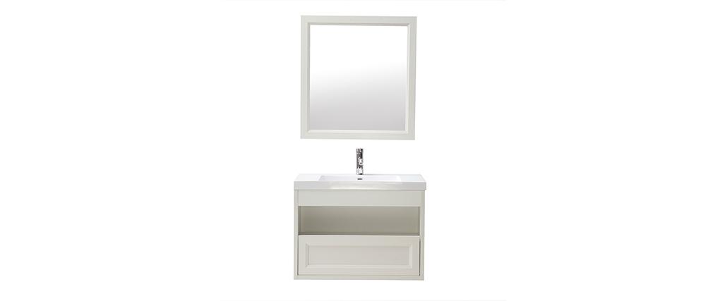 Mueble de baño suspendido con lavabo, espejo y almacenaje en blanco RIVER