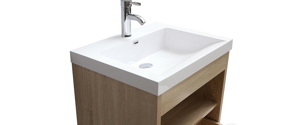 Mueble de baño suspendido con lavabo, espejo y almacenaje en madera RIVER