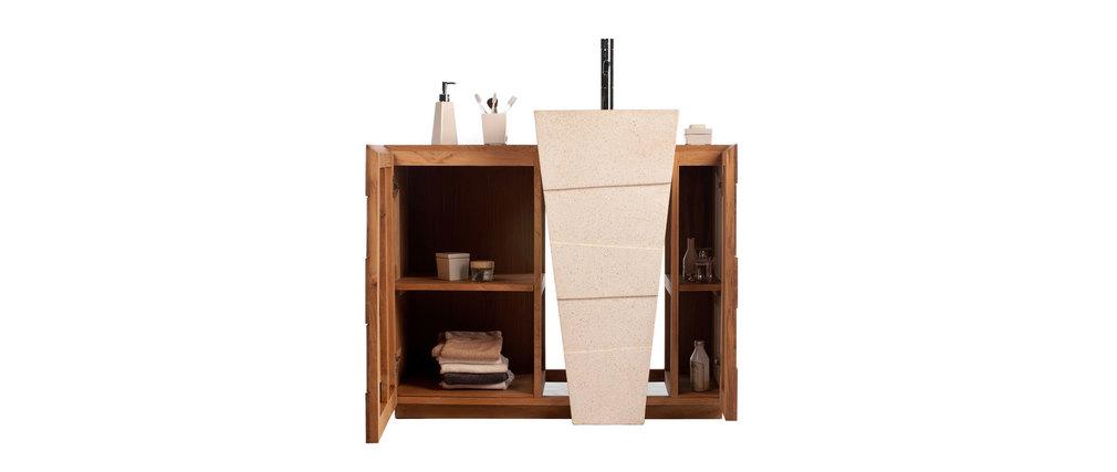 Mueble de cuarto de baño diseño étnico en teca y granito lavabo encastrado ARU